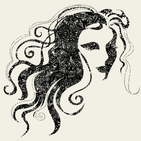 Illustration for Closeup vector grunge decorative vintage Halloween woman with beautiful hair - Royalty Free Image