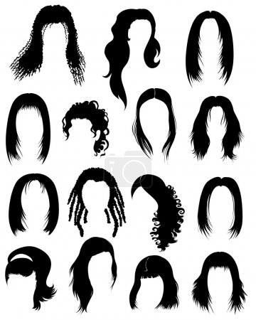 "Illustration for Big set of black hair styling for woman (from my big ""Hair styling series"") - Royalty Free Image"