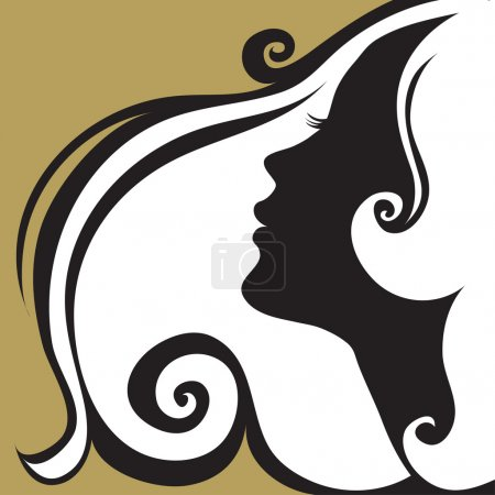 Illustration for Closeup decorative vintage woman with beautiful hair - Royalty Free Image