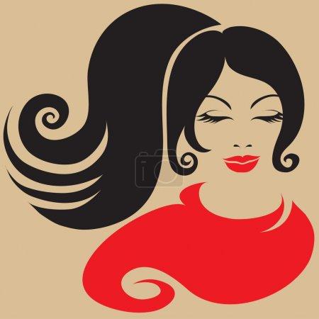Illustration pour Belle fille en écharpe rouge - image libre de droit