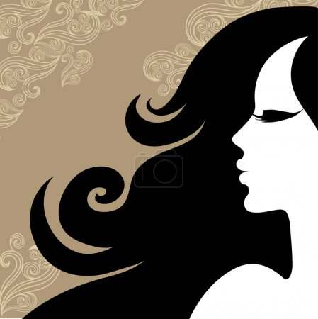 "Illustration for Closeup decorative vintage woman with beautiful long hair (From my ""Vintage woman collection"") - Royalty Free Image"
