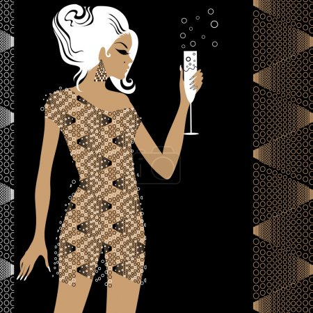Illustration for Attractive blond girl in the party with glass of champane attractive blond girl in the party with glass of champane - Royalty Free Image
