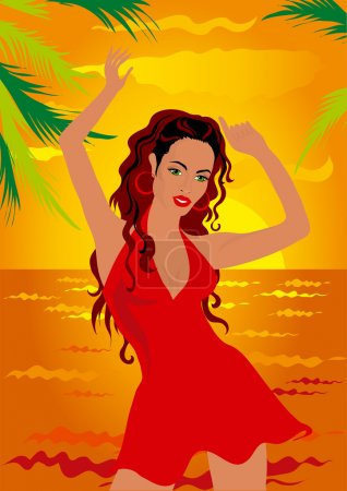 Illustration for Woman in red dancing on tropical beach - Royalty Free Image