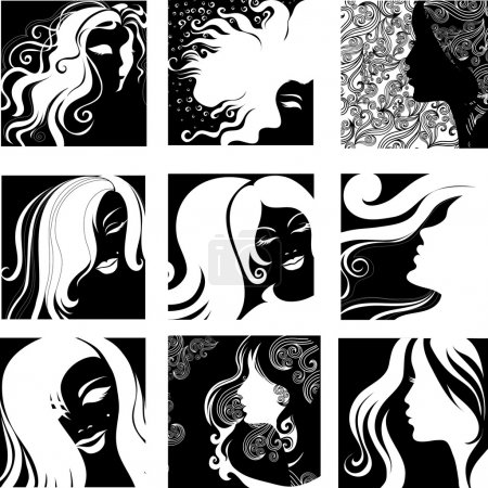 "Illustration for Vector set of closeup silhouette portrait of beautiful woman with long hair (From my big ""Vintage woman collection "") - Royalty Free Image"