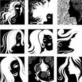 Vector set of closeup portraits