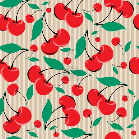 Illustration for Seamless cute vector Cherry background - Royalty Free Image