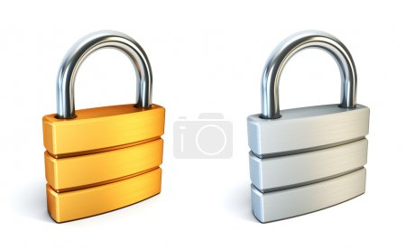 Photo for Metal closed lock isolated 3d rendering - Royalty Free Image