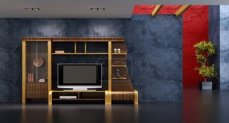 Photo pour Intérieur 3D avec étagère moderne avec tv - image libre de droit