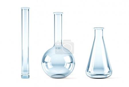 Photo pour Rendement 3d isolé des flacons chimiques vides - image libre de droit