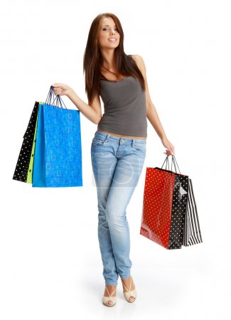 Sexy shopping girl with sale bag