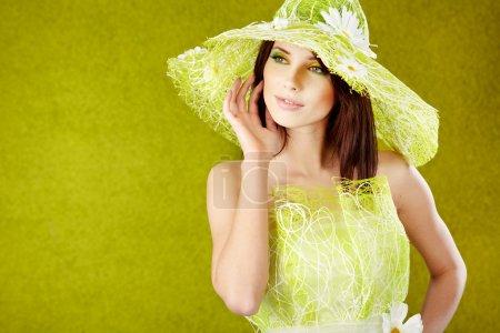 Spring woman portrait. green concept
