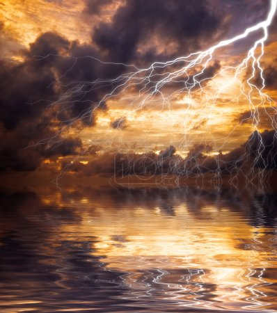 Photo for Reflection of lightning in the water - Royalty Free Image