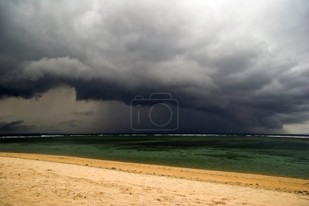 Bad weather on tropical beach