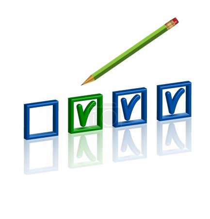 Photo for Checklist with pencil in 3D on white - Royalty Free Image