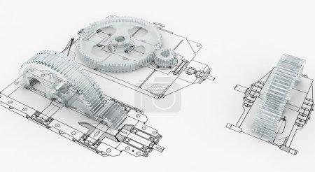 Photo pour Croquis mécanique avec engrenages - image libre de droit