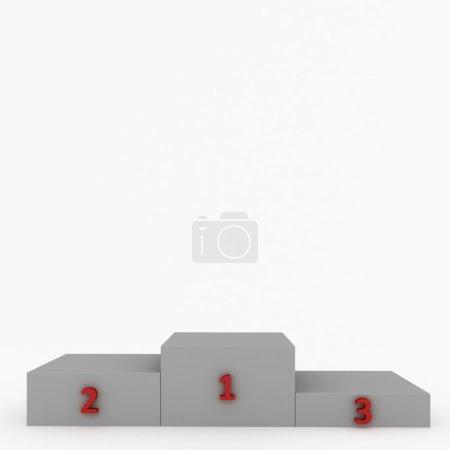 Photo pour Blanc de piédestal avec chiffres rouges isolés sur blanc. Très grande résolution - image libre de droit