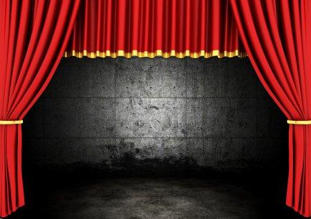 Photo pour Théâtre Scène Rouge Drapes et chambre noire - image libre de droit