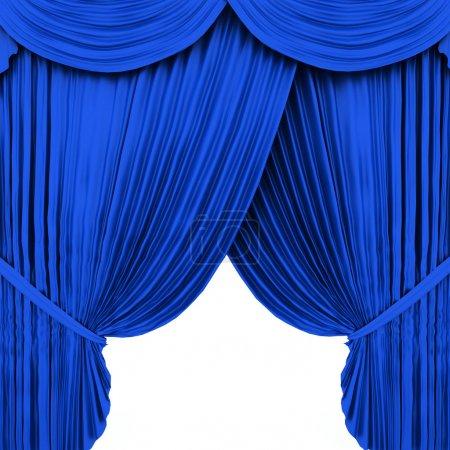 Photo pour Rideau de théâtre bleu isolé sur fond blanc - image libre de droit