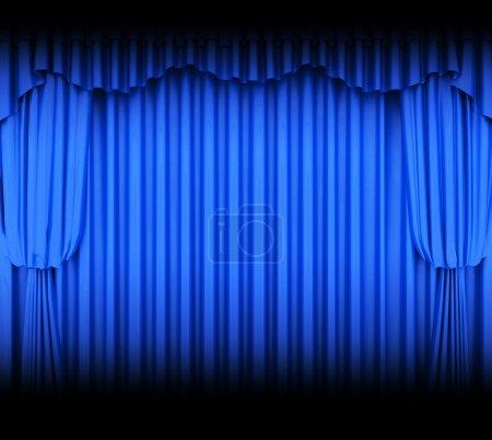 Photo pour Rideau de théâtre bleu avec projecteurs - image libre de droit