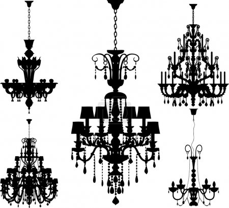 Silhouettes of luxury chandeliers