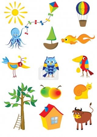 Illustration for Vector set of cartoon characters and objects - Royalty Free Image