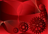 Vector illustration - gears on a red abstract background