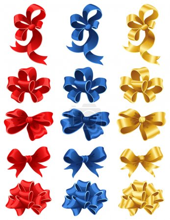 Illustration for Vector illustration - set of colourful gift bows - Royalty Free Image