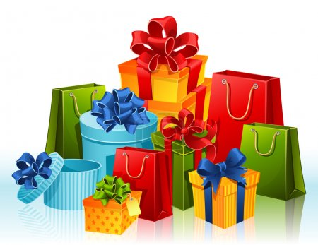 Illustration for Vector illustration - gift boxes and shopping bags - Royalty Free Image