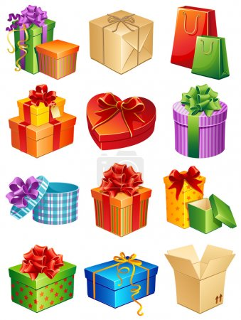 Illustration for Vector illustration - gift box icon set - Royalty Free Image