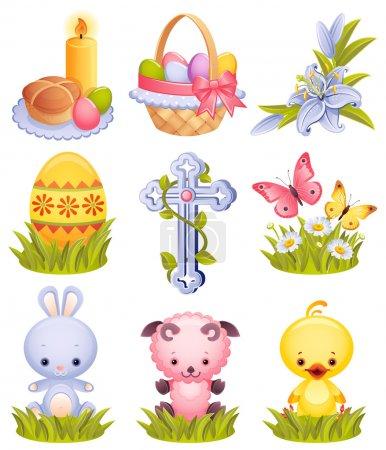 Illustration pour Illustration vectorielle - Ensemble d'icônes de Pâques - image libre de droit