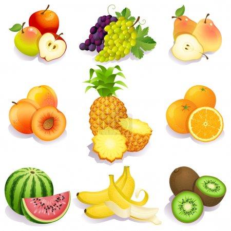 Illustration pour Illustration vectorielle - ensemble d'icônes de fruits - image libre de droit