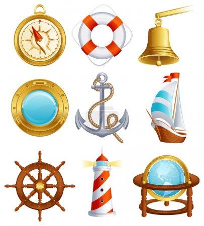 Illustration for Vector illustration - Sailing icon set - Royalty Free Image