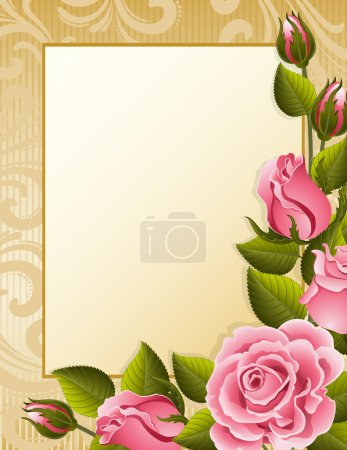 Illustration for Vector illustration - pink roses and paper - Royalty Free Image