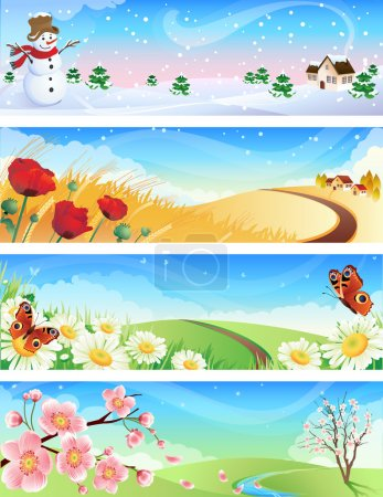 Illustration for Vector illustration - four seasons landscapes - Royalty Free Image