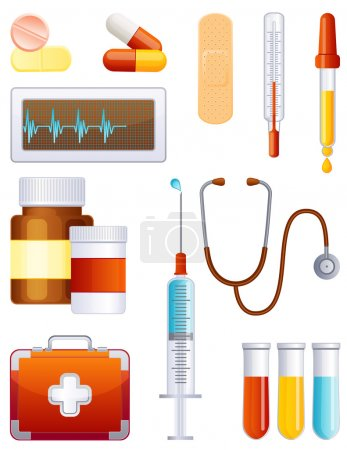 Illustration for Vector illustration - medical equipment icon set - Royalty Free Image