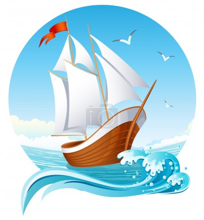 Illustration for Vector illustration - sailing ship emblem - Royalty Free Image