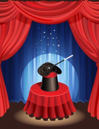 Illustration pour Illustration vectorielle - chapeau magique et baguette magique - image libre de droit