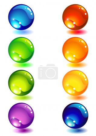 Illustration for Vector illustration - Eight glass colour button - Royalty Free Image