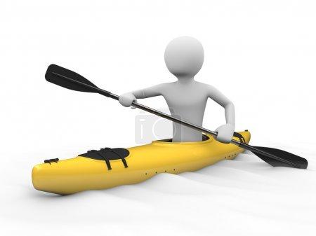 Kayaking, rafting: man in yellow kayak