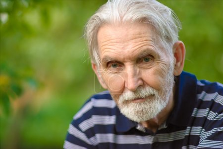 Photo for Elderly man with grey-haired beard close up against personal plot. - Royalty Free Image