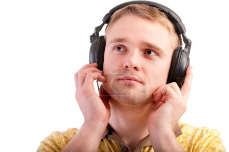 Portrait of man with ear-phones