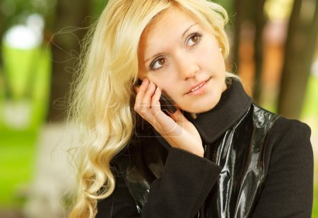 Blonde with mobile phone