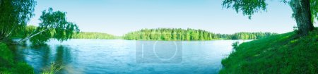 Photo for Summer landscape with a kind on the big lake and dense wood on distant coast. - Royalty Free Image