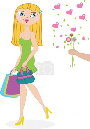 Beautiful shopping girl and her admirer