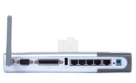 Photo pour Point d'accès WiFi moderne de couleur métallique isolé sur fond blanc - image libre de droit