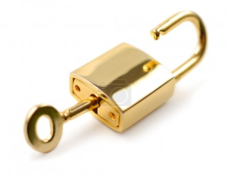 Photo for Golden padlock with key isolated over white background - Royalty Free Image