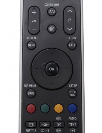 Black tv remote control close up top view...