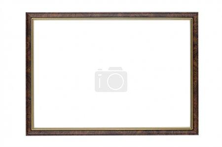 Photo pour Objet sur blanc - cadre photo en bois - image libre de droit