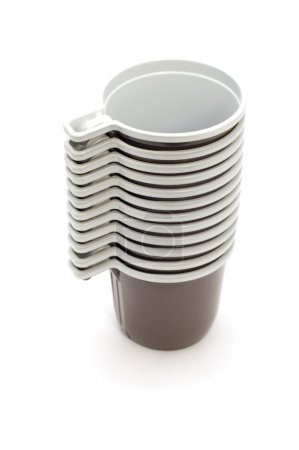 Coffee brown cup on white