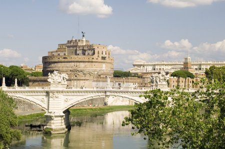 Italy Older Bridge and Castle Sant Angelo in Rome...